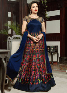 ROYAL BLUE EMBELLISHED INDO WESTERN GOWN STYLE SUIT