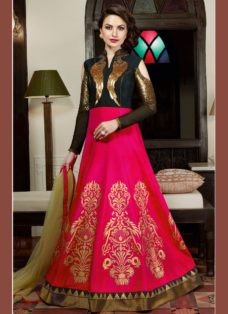 BLACK N HOT PINK EMBELLISHED INDO WESTERN GOWN STYLE SUIT