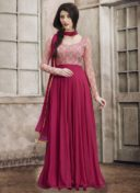 MAROON PRINTED DESIGNER FLOOR LENGTH DRESS