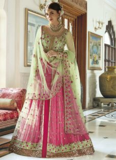 LIGHT GREEN N PINK DESIGNER PARTY WEAR LEHENGA