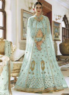 LIGHT BLUE N GOLDEN DESIGNER LEHENGA CHOLI SET