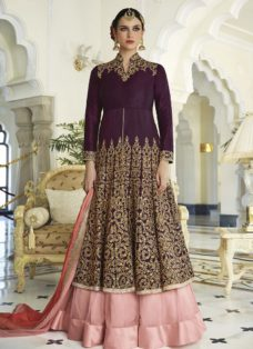 WINE N BABY PINK DESIGNER EMBROIDERED LEHENGA SUIT