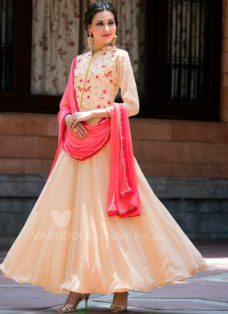 LIGHT PEACH GEORGETTE ABAYA STYLE ANARKALI SUIT