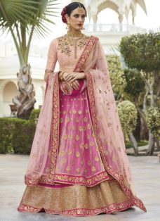 PEACH N PINK EMBELLISHED LEHENGA STYLE WEDDING SUIT