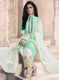 SEA GREEN N OFF WHITE EMBROIDERED STRAIGHT SUIT