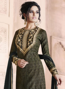 BLACK JACQUARD EMBROIDERED DESIGNER STRAIGHT SUIT