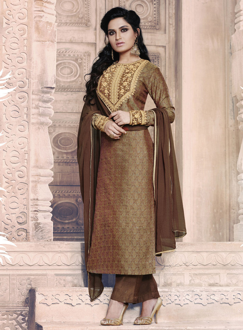 BROWN JACQUARD EMBROIDERED DESIGNER STRAIGHT SUIT