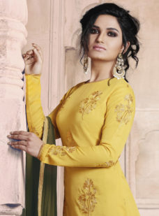 YELLOW N OLIVE EMBROIDERED DESIGNER STRAIGHT SUIT
