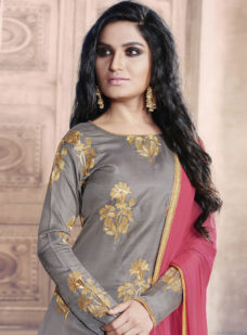 GREY N PINK EMBROIDERED DESIGNER STRAIGHT SUIT