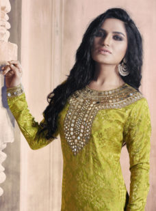 MEHENDI GREEN N OLIVE EMBROIDERED STRAIGHT SUIT