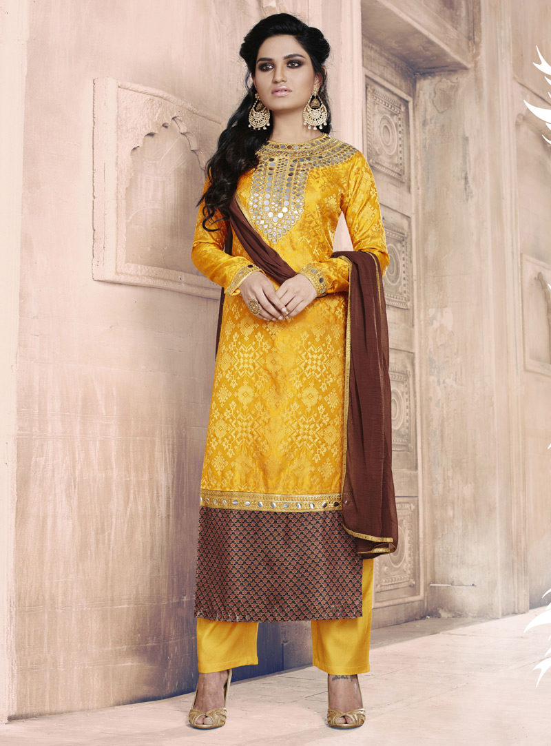 YELLOW N BROWN EMBROIDERED DESIGNER STRAIGHT SUIT