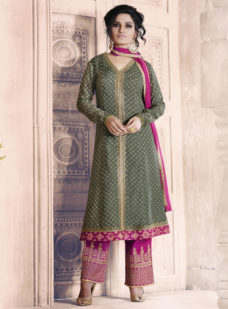 GREY N PINK PRINTED GEORGETTE DESIGNER STRAIGHT SUIT