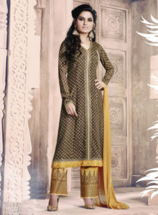 COFFEE N MUSTARD PRINTED GEORGETTE STRAIGHT SUIT