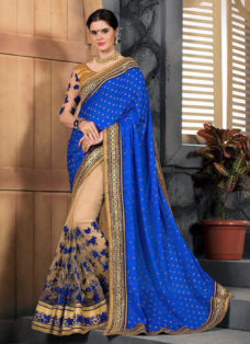 ROYAL BLUE N BEIGE EMBROIDERED PARTY WEAR SAREE
