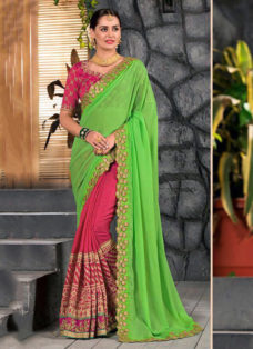 GREEN N DEEP PINK EMBROIDERED PARTY WEAR SAREE