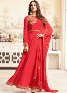 SONAL CHAUHAN RED GEORGETTE PARTY WEAR SUIT