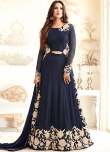 SONAL CHAUHAN NAVY BLUE GEORGETTE DESIGNER SUIT