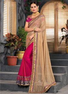 BEIGE N DEEP PINK EMBROIDERED PARTY WEAR SAREE