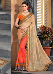 DARK GREEN BEIGE N ORANGE EMBROIDERED PARTY WEAR SAREEN RED EMBROIDERED PARTY WEAR SAREE