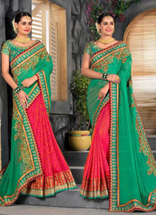 DEEP GREEN N RED EMBROIDERED PARTY WEAR SAREE
