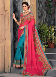 PINK N TEAL BLUE EMBROIDERED PARTY WEAR SAREE