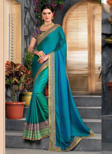 GREEN N BLUE SILK EMBROIDERED PARTY WEAR SAREE