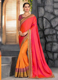PEACH N YELLOW SILK EMBROIDERED PARTY WEAR SAREE