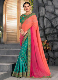 ORANGE OMBRE N GREEN EMBROIDERED DESIGNER SAREE