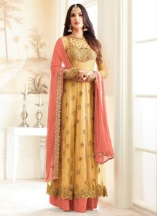 SONAL CHAUHAN YELLOW N PEACH PARTY WEAR SUIT