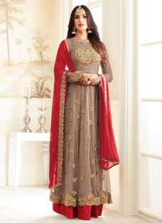 SONAL CHAUHAN BROWN N RED NET PARTY WEAR SUIT