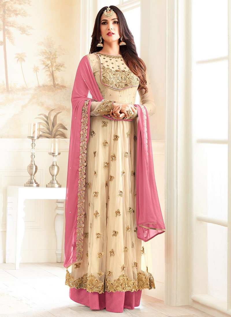 SONAL CHAUHAN CREAM N PINK NET PARTY WEAR SUIT