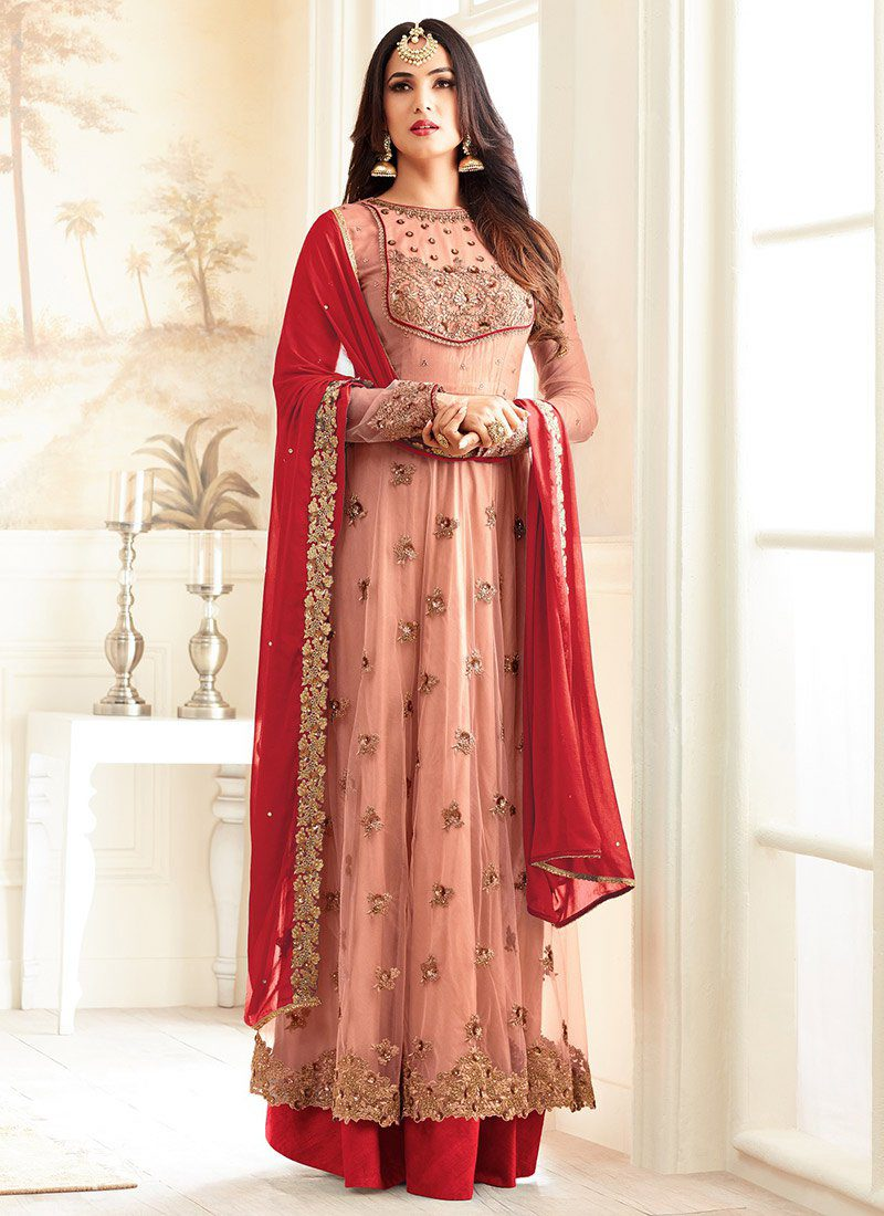 SONAL CHAUHAN PINK N RED NET PARTY WEAR SUIT