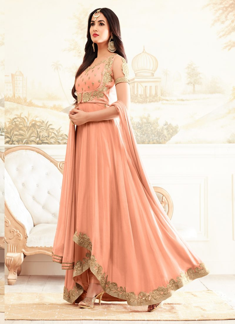SONAL CHAUHAN PEACH PARTY WEAR DESIGNER SUIT