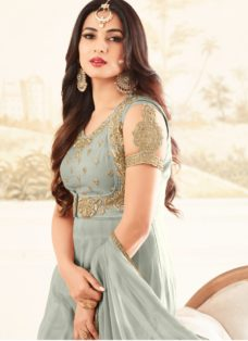 SONAL CHAUHAN LIGHT GREY PARTY WEAR DESIGNER SUIT