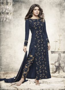 PRIYANKA CHOPRA NAVY BLUE EMBROIDERED PARTY WEAR SUIT