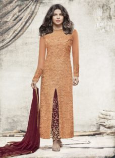 PRIYANKA CHOPRA ORANGE N MAROON EMBROIDERED SUIT