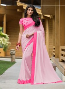 STYLISH BABY PINK PURE GEORGETTE DESIGNER SAREE