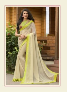 STYLISH LIGHT BEIGE PURE GEORGETTE DESIGNER SAREE