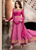 FUCHSIA PINK SATIN EMBROIDERED PARTY WEAR SUIT