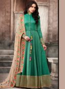 RAMA GREEN JACQUARD EMBROIDERED PARTY WEAR SUIT
