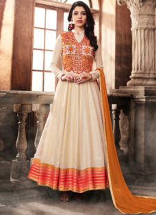 OFF WHITE N ORANGE SILK EMBROIDERED PARTY WEAR SUIT