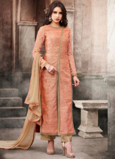 PEACH N BEIGE SILK JACKET STYLE PARTY WEAR SUIT