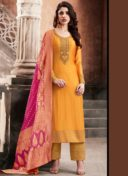 ORANGE N PINK EMBROIDERED PARTY WEAR STRAIGHT SUIT