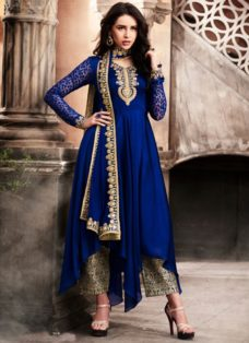 NAVY BLUE ASYMMETRICAL EMBROIDERED PARTY WEAR SUIT