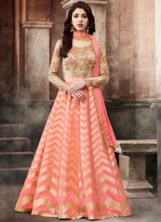 BEIGE N PEACH BROCADE EMBROIDERED PARTY WEAR SUIT