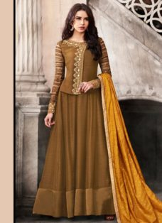 BROWN N MUSTARD SATIN EMBROIDERED PARTY WEAR SUIT