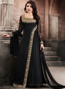 BLACK GEORGETTE EMBROIDERED DESIGNER WEAR SUIT