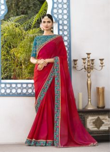 RED OMBRE GEORGETTE EMBROIDERED DESIGNER SAREE