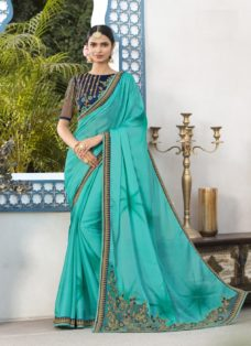 TURQUOISE N BLUE CHIFFON EMBROIDERED DESIGNER SAREE
