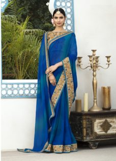 BLUE N BEIGE PURE GEORGETTE EMBROIDERED SAREE